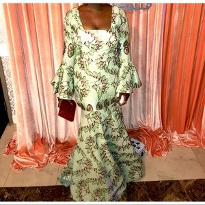 Dresses & Skirts - African print formal green gown bell sleeve